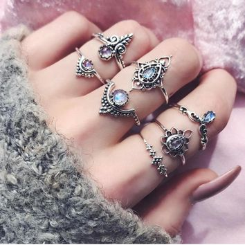 7pcs/Set Women Girl Bohemian Vintage Silver Stack Rings Above Knuckle Blue Rings Set 2017 New trend popular item #45