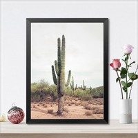 Tall Cactus Poster Desert Art Cacti Print , Cactus Canvas Paintings Nature Art Wall Pictures Boho Decor Home Decoration