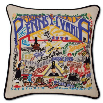 Pennsylvania Hand Embroidered Pillow
