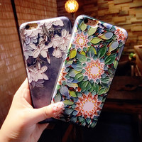2017 Fashion Luxury Floral Painted 3D Relief For iPhone 6 6S plus Case Beauty Flower Cell Cover for iphone 7 7plus Phone Cases