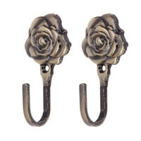 2PCS Rose Pattern Iron Curtain Wall Tieback Hook Home Decor Antique Brass