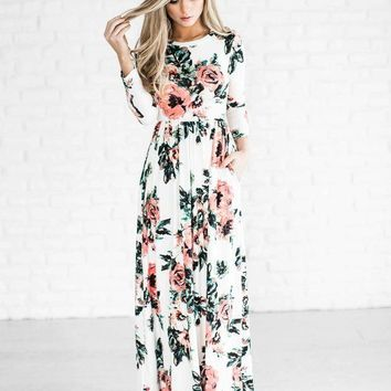 DCCKHQ6 Round Neck Long Sleeve Floral Super Long Maxi Dress