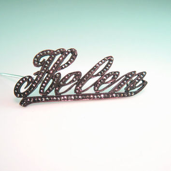 "Marcasite Brooch Sterling Silver Personalized Name ""Helen"" Script Vintage 1920s Art Deco Jewelry"