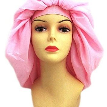 Dream Super Jumbo Night & Day Cap - Pink, Satin, fabric, elastic band, cotton, holds hair in place, large,...