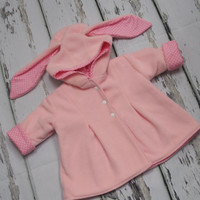 Baby Girls Bunny Jacket, bunny coat, rabbit jacket, pink girls coat, girls jacket, baby jacket, hood ears, baby coat, fleece, polka