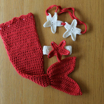 Coral Jeweled Pearl Baby Crochet Mermaid Set. Baby Mermaid Photo Prop Outfit/Costume