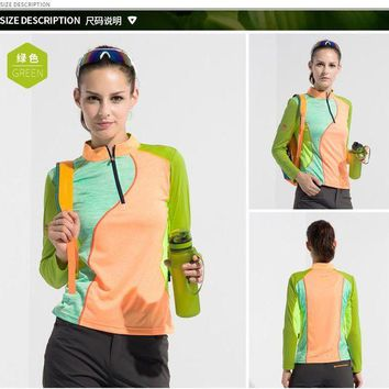 DCCKFS2 Outdoor long-sleeved women stand collar long-sleeved outdoor fast-drying T-shirt stretch Slim spell color lady quick-dry clothes