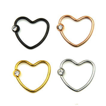 Anodized Colorful CZ Crystal Daith Heart Captive Bead Ring Ear Helix Tragus Cartilage Lip Ring Piercing Nose Stud-JM0414