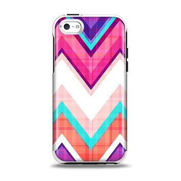The Vibrant Pink & Blue Chevron Pattern Apple iPhone 5c Otterbox Symmetry Case Skin Set