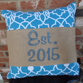 "Burlap Pillow Wrap  for a 16"" or 18"" pilow with your family home stablishment date embroidered, housewarming"