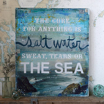 "Salt Water - 20"" x 24"" original mixed media painting - inspirational nautical beach word art"