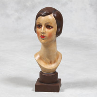 Antique lady female ornament in vintage style effect reproduction
