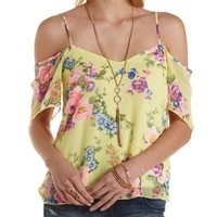 Yellow Combo Floral Print Cold Shoulder Top by Charlotte Russe