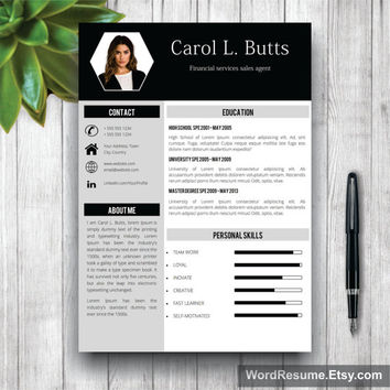 Clean Resume Template With Photo + Cover Letter / CV Template Word, Professional, Creative, Simple Resume, curriculum vitae design,CV Format