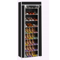 Portable 10 Tier Shoe Rack Shelf Storage Closet Organizer Cabinet w/Cover Black