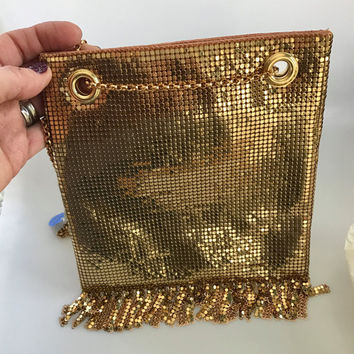 Vintage Evening Purse, Evening Bag, Whiting and Davis Mesh Purse, Vintage Purse, Gold Shoulder Bag, Vintage Wedding Purse, Fringe