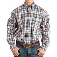 Men's Cinch Coral and Blue Plaid Plus Size Buttondown Shirt