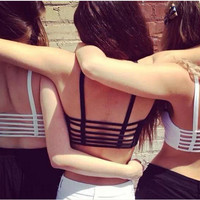 New Sexy Women Cut Out White Bra Bustier Crop Top Bralette Strappy Crochet Cropped Blusas Bandage Halter Tank Tops Z1