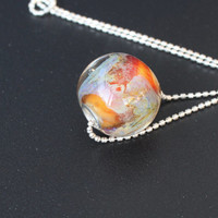 "Lampwork pendant / Big hole bead / Lampwork bead with silver chain /  ""Galaxy.Nebula'' / Orange, pink, blue, purple."