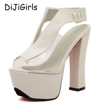 platform pumps sexy high heels ankle strap chunky sandals women shoes ladies 2017 shoe  number 1