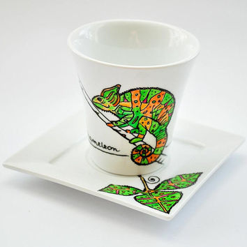 Customized Tea Cup with Saucer. Hand Painted Chameleon. Personalized Tea Cup. Colorful Animal Mug.