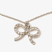 Rhinestoned Bow Necklace