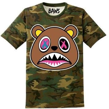 Crazy Baws Army Camo Olive Sneaker Tees Shirt