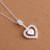 Arrow and Heart Silver Necklace