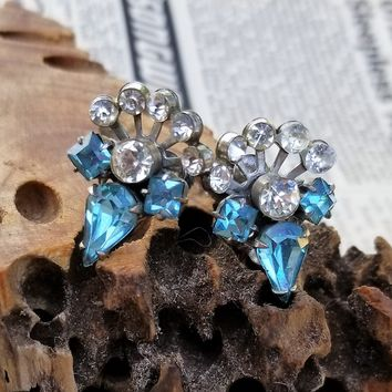 Vintage Small Art Deco Style Crystal Rhinestone Flower Screwback Earrings Do You Want To Buy Some Chinese Native Produce? Earrings