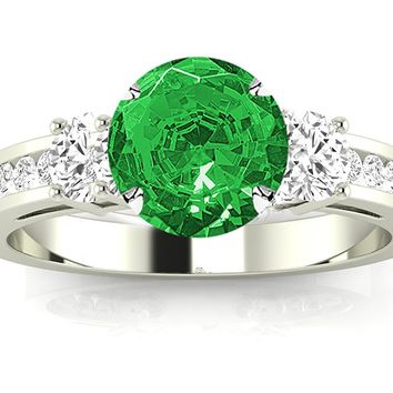 CERTIFIED | Channel Set 3 Three Stone Diamond Engagement Ring with a 1 Carat Emerald Heirloom Quality Center (Platinum, Yellow, White, Rose)