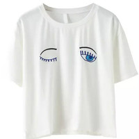White Eyes Embroidered Short Sleeve Cropped T-Shirt