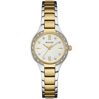 Bulova Ladies 26 Diamond Maiden Lane Watch - White Dial - Two-Tone - Bracelet