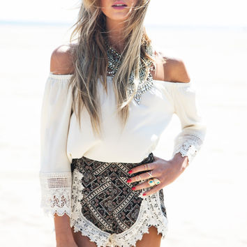 White Off Shoulder Crochet Patch Long Sleeve Top and Shorts