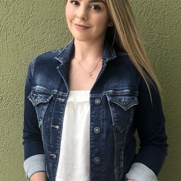 Silver Denim Jacket- Dark Wash
