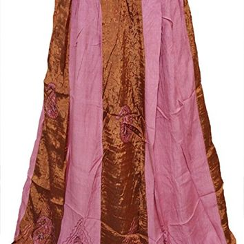 Mogul Womens Bohemian Skirt Pink/ Brown Embroidered Gypsy Long Boho Skirts XS