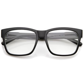 Casual Bold Square Clear Lens Horn Rimmed Eyeglasses 53mm