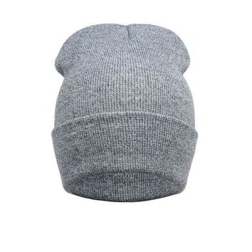 DCCKU62 2016 New Winter Beanies Solid Color Hat Warm Soft Beanie Skull Knit Cap Hats Knitted Gorro Caps For Men Women