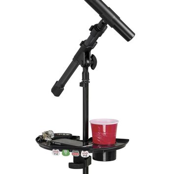 Gator Frameworks Micropone Stand Accessory Tray with Drink Holder and Guitar Pick Tab