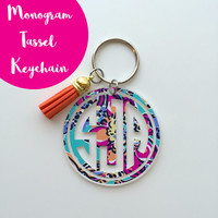 Lilly Pulitzer Inspired Monogrammed Acrylic Keychain with Tassel