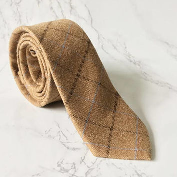 Coffee Brown Checkered Skinny Tie  - Rustic Dapper Tie - Wedding Brown Tie - Mens Brown Tie - Groomsmen Brown Tie - Grooms Skinny Tie