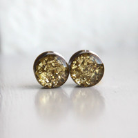 Gold Glitter Ear Plugs, Sparkly Gold Plugs, Resin Gauges, Fashion Plugs, Plugs for Women - sizes 0g, 00g, 7/16, 1/2, 9/16, 5/8, 3/4, 7/8, 1""