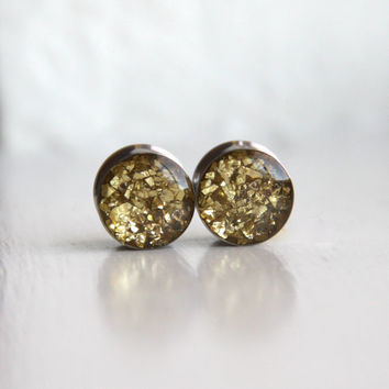 """Gold Glitter Ear Plugs, Sparkly Gold Plugs, Resin Gauges, Fashion Plugs, Plugs for Women - sizes 0g, 00g, 7/16, 1/2, 9/16, 5/8, 3/4, 7/8, 1"""""""