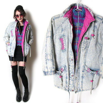 80s Acid Wash Coat - 80s Jacket - Grunge Coat - Denim Jacket - Winter Coat - Winter Jacket 80s 1980s - Soft Grunge - Pastel Grunge