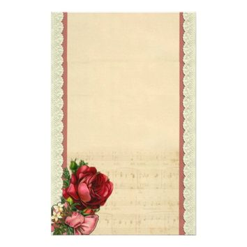 Vintage Roses on Sheet Music Background Stationery