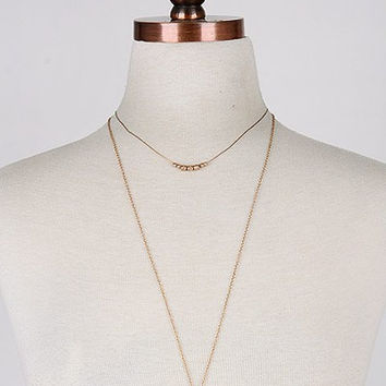 Double Layer Gold Cross Necklace