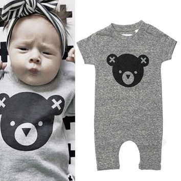 New Arriving Baby Boys Girls Rompers Clothing Summer Romper Cartoon Cute Cartoon Bear Gray Baby Clothes Boys 0-12M Playsuits