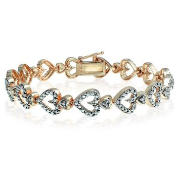 Genuine Diamond Accented Heart Tennis Bracelet in Rose Gold Plated Brass
