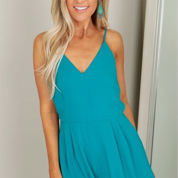 Strappy Tank Romper Harbor Blue