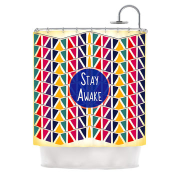 "Famenxt ""Stay Awake"" Yellow Multicolor Shower Curtain"