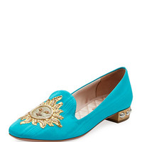 Aquazzura Embroidered Moire Loafer